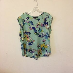 THE LIMITED Mint Green Floral Silky Blouse Size Lg